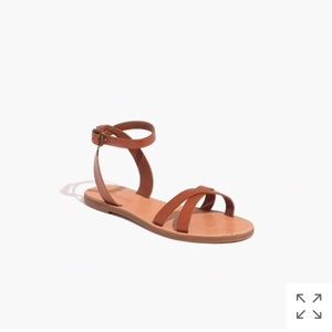 NEW Madewell boardwalk ankle strap sandals brown